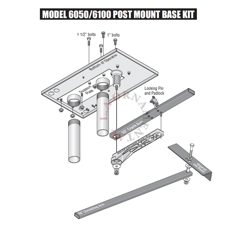 Doorking post mount for  swing gate openers