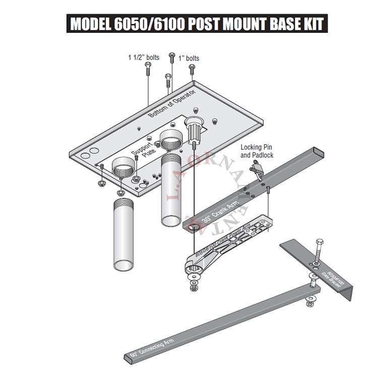 Doorking Post Mount For 6050 6100 Swing Gate Openers