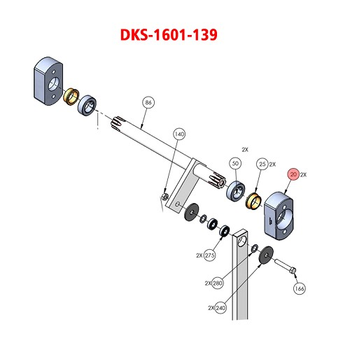 Doorking 1601,  1601-139, Bearing Blk Die Cast 1601